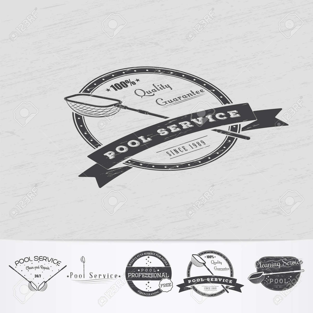 pool service logo. Pool Service. Maintenance And Cleaning. Repair Adjustment Of The House. Old Retro Service Logo