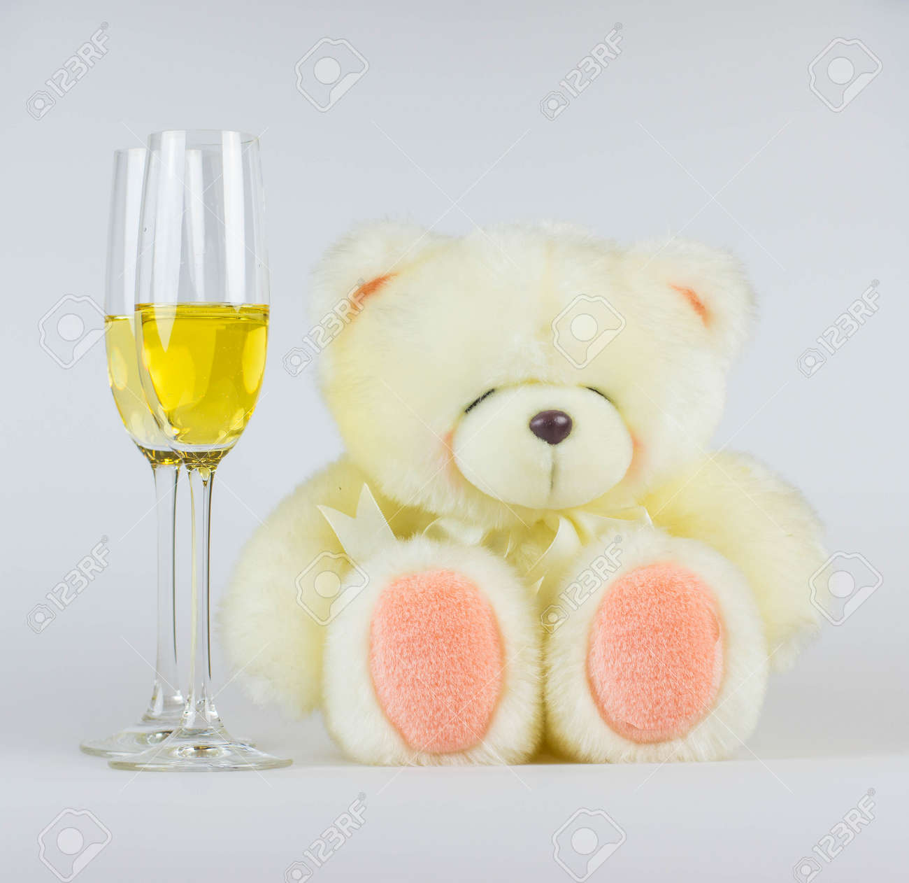 Joyeux Anniversaire Nounours Champagne Cocktail Verre Carte