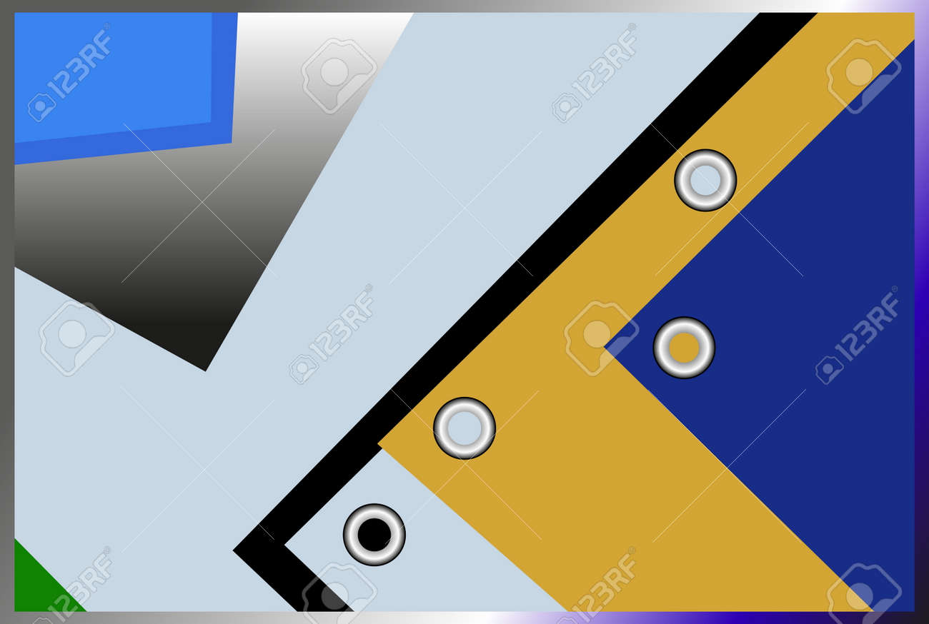 Various Geometric Shapes Blue Yellow White And Black Color