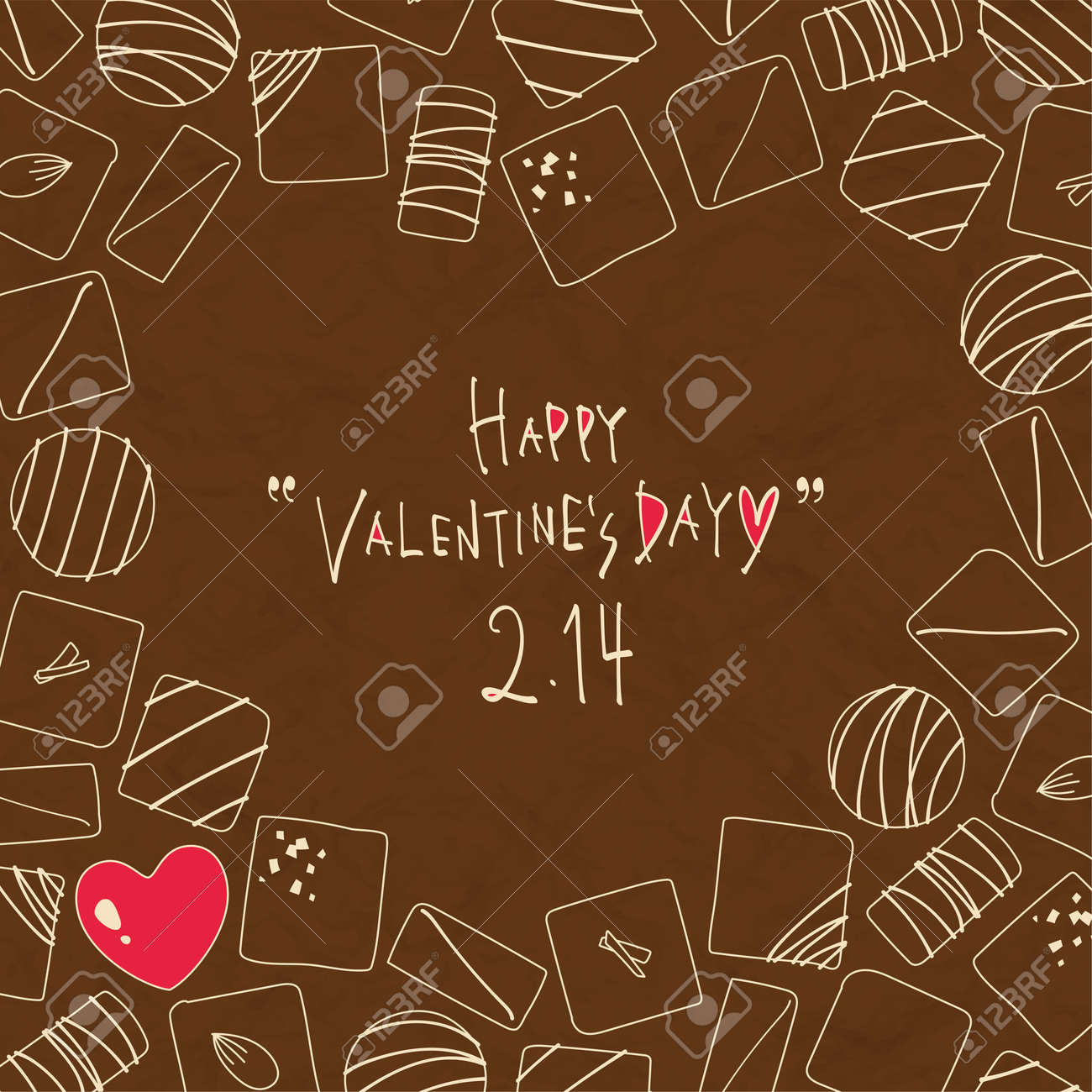 Hand-painted bonbon chocolate bird's-eye view illustration background - 160250714