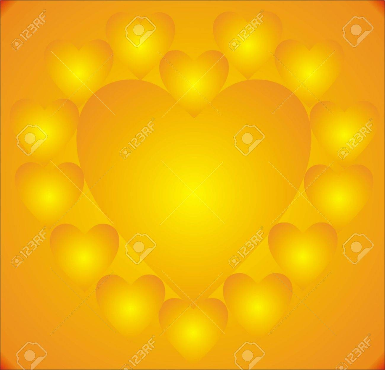 illustration, heart surrounded by hearts, in warm red and orange tones. Stock Illustration - 438263