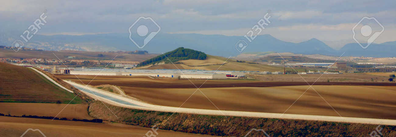 the newly constructed Canal de Navarra near Pamplona, Spain, Europe Stock Photo - 630927