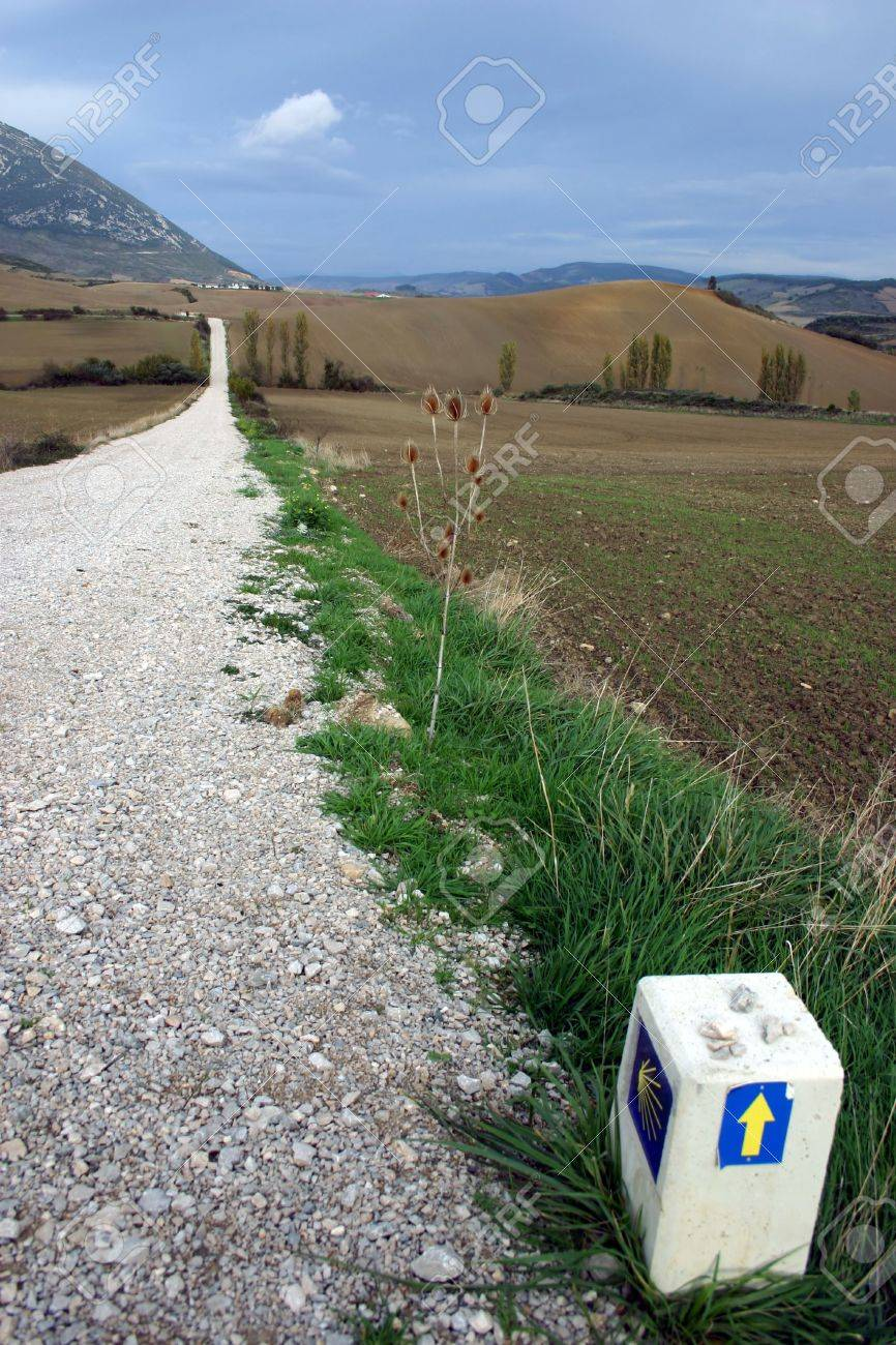 Camino de Santiago, long distance foot pilgrimage, Navarra, Spain, Europe, actual path Stock Photo - 630914