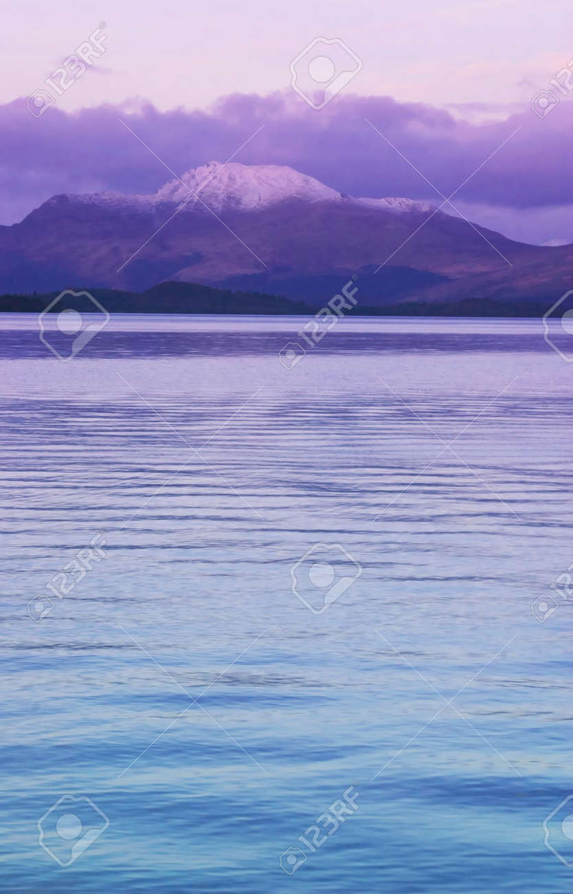 colorful sunset at Loch Lomond, Scotland, UK, with view to Ben Lomond Stock Photo - 931901