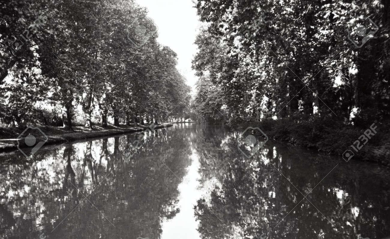 b/w of Canal du Midi, France Stock Photo - 1318743