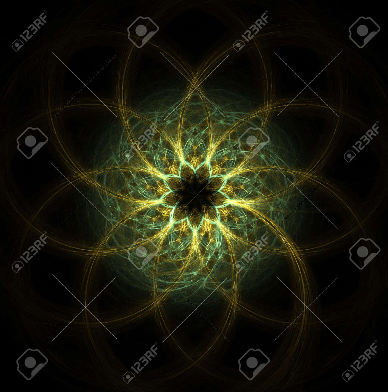 high resolution flame fractal forming a mandala that resembles an eye or flower Stock Photo - 1319051