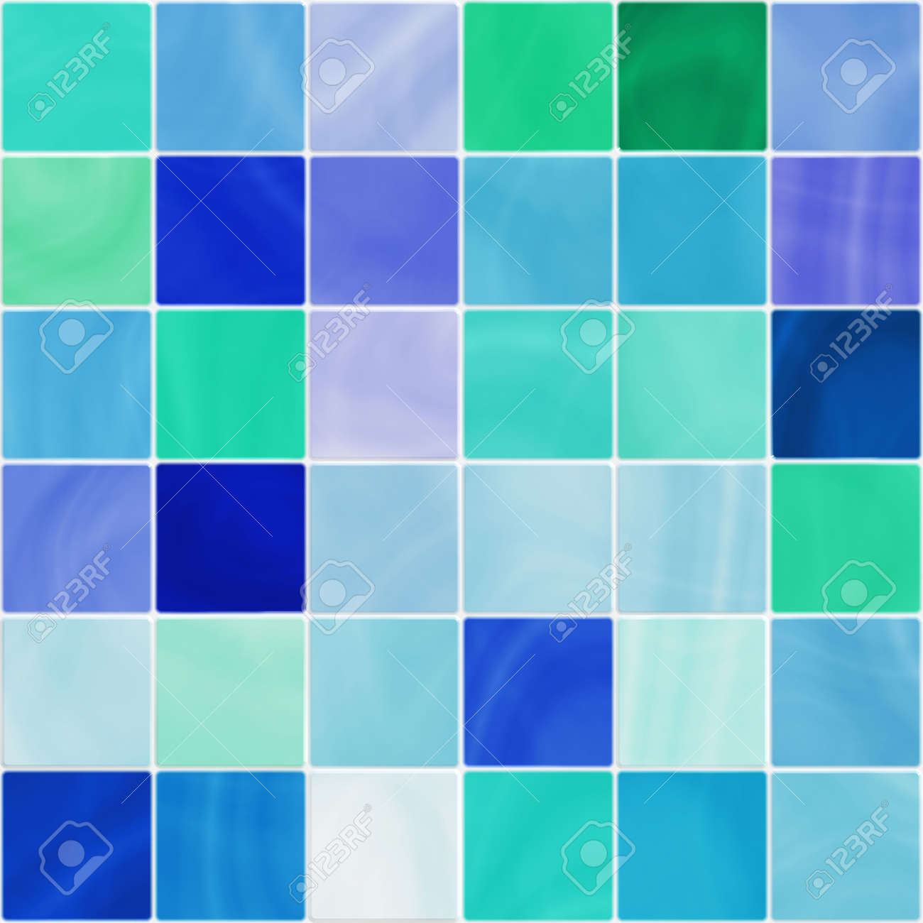 Ceramic Bathroom Or Kitchen Tiles In White, Blue And Green Tones ...