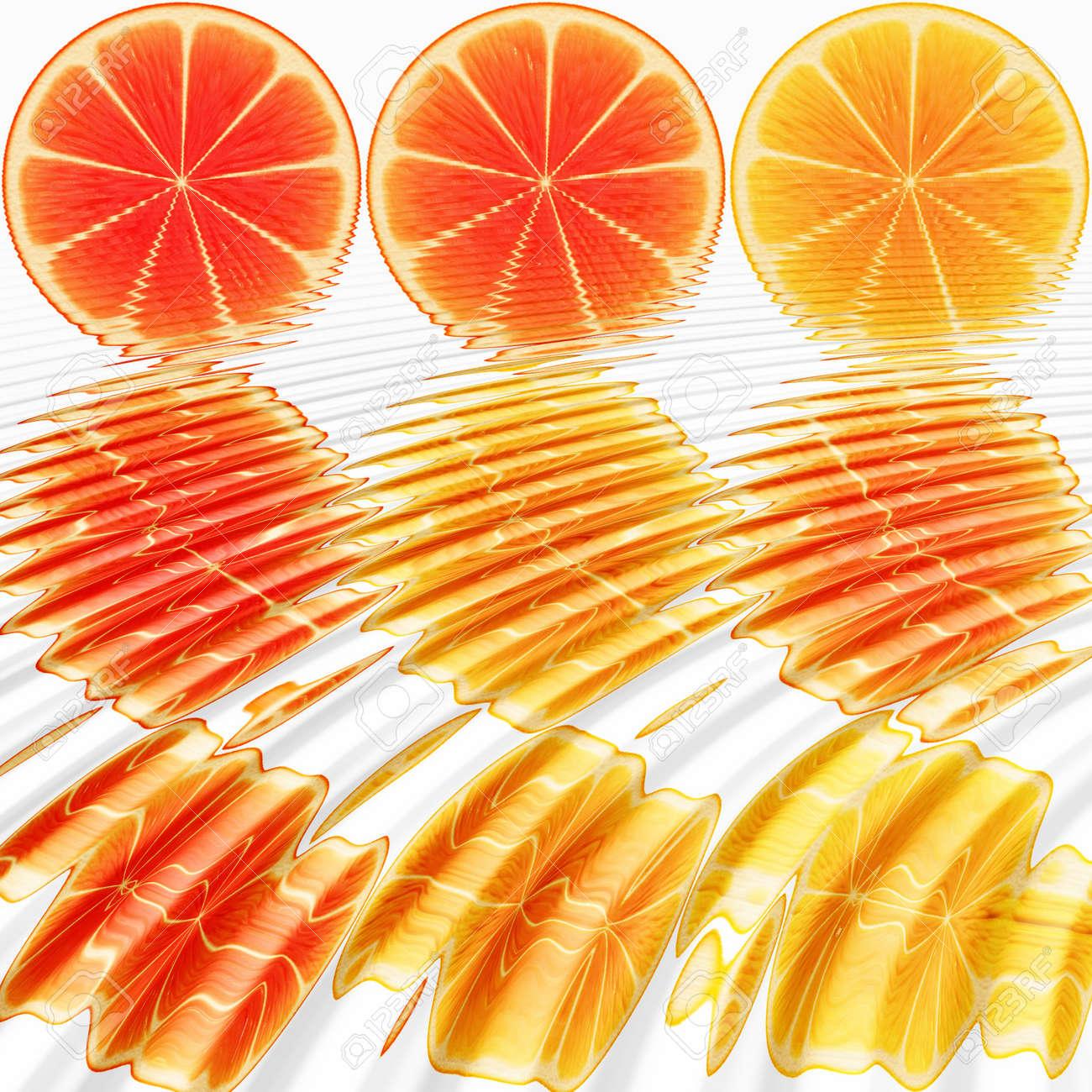 nine orange slices, submerged in water Stock Photo - 3808025