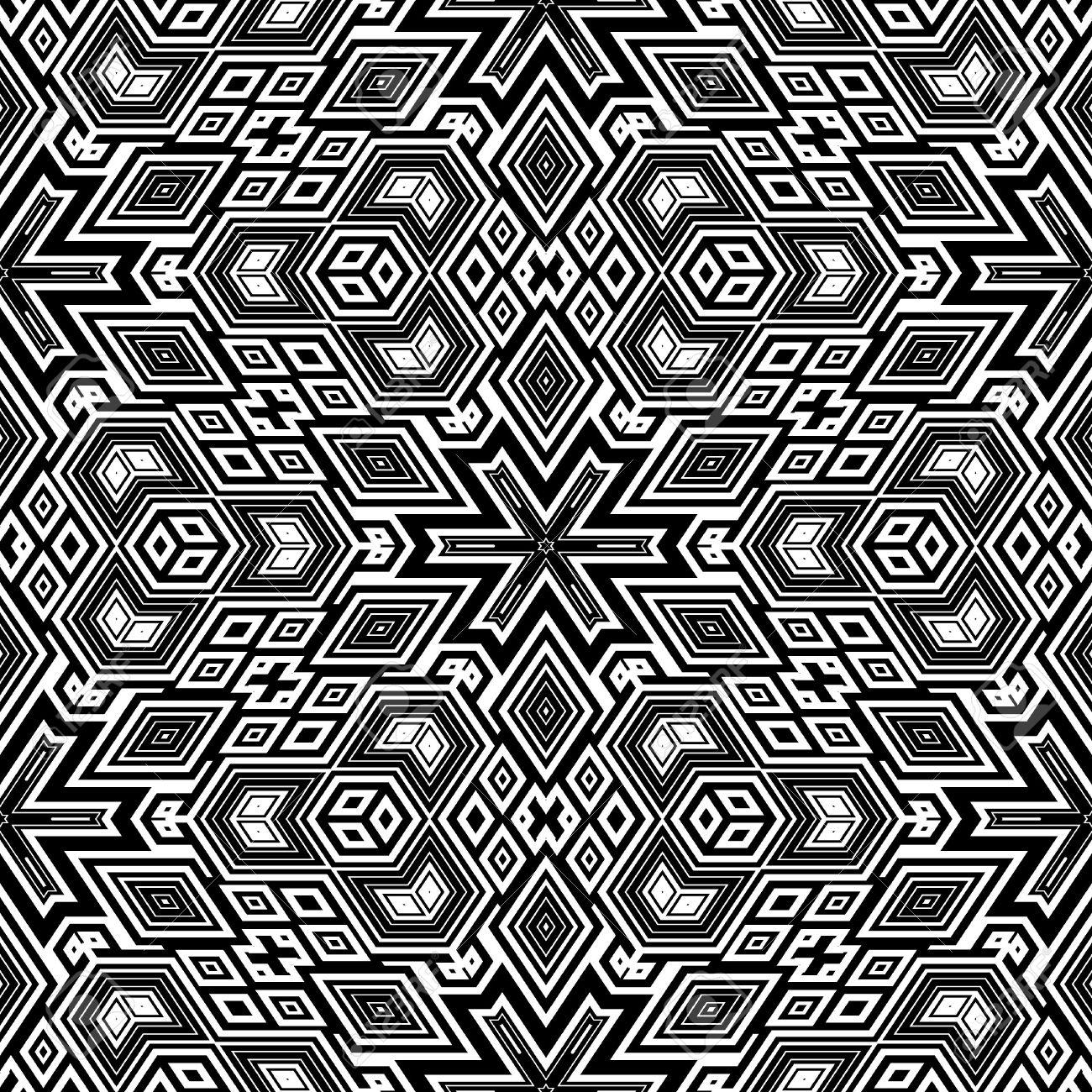 黒と白のレトロな花パターン タイルをシームレスに エッシャーの典型的な光学錯覚 の写真素材 画像素材 Image
