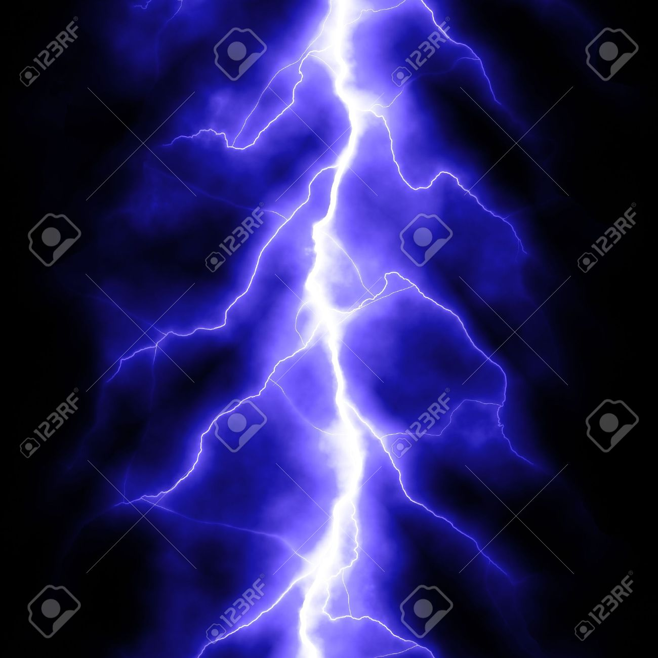 Blue Lightning Bolt Over Black Stock Photo
