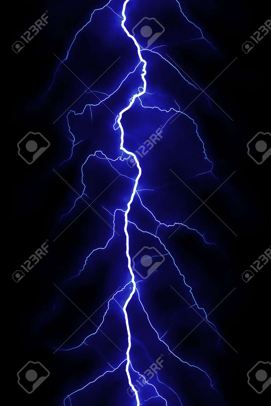 Blue Lightning Bolt Over Black Sky Stock Photo