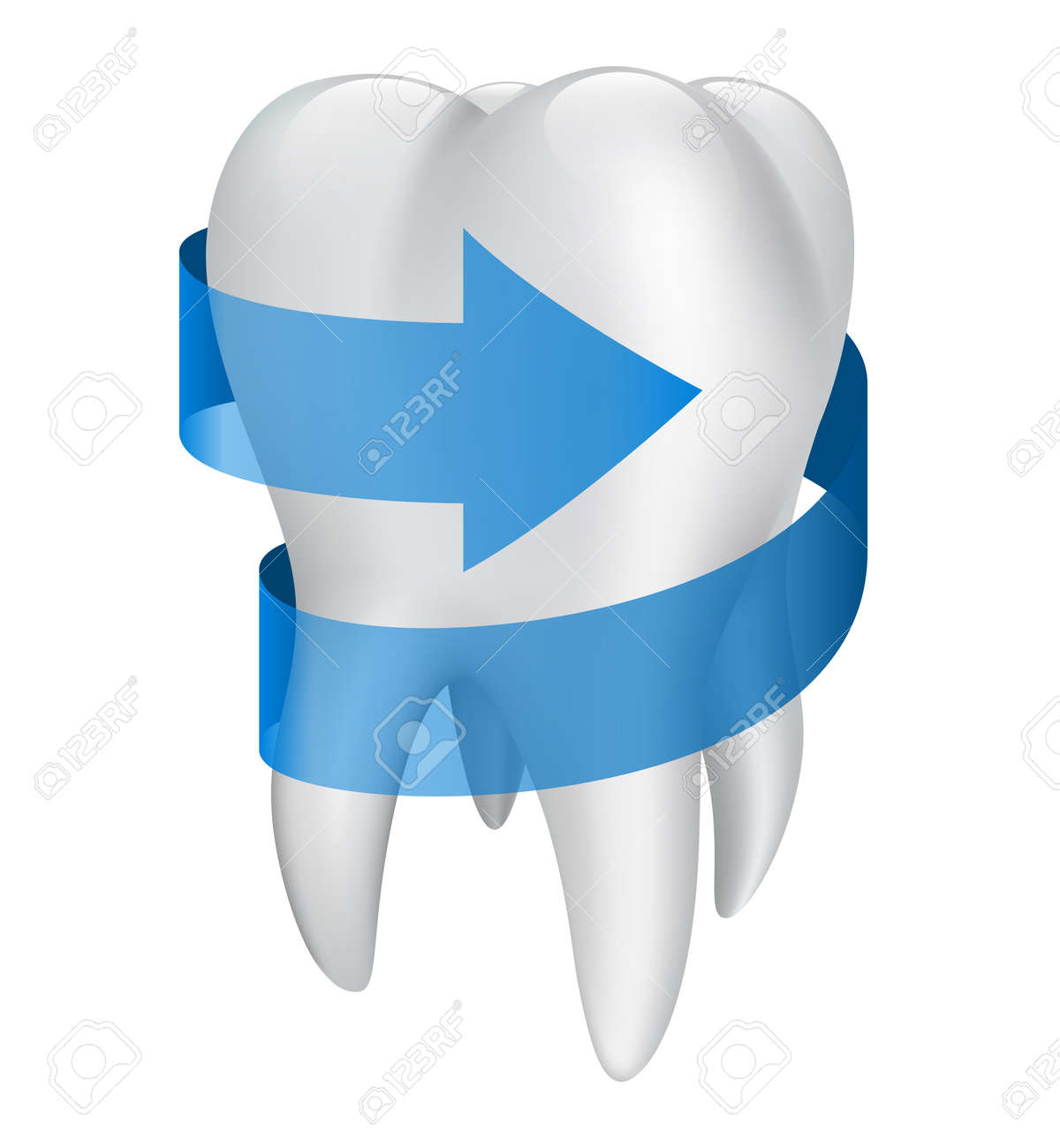 Tooth with blue arrow. Vector illustration Stock Vector - 19097570