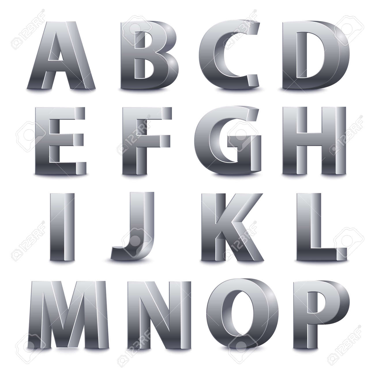 Standing Metal Letters 3D Font Big Metal Letters Standingvector Illustration Royalty