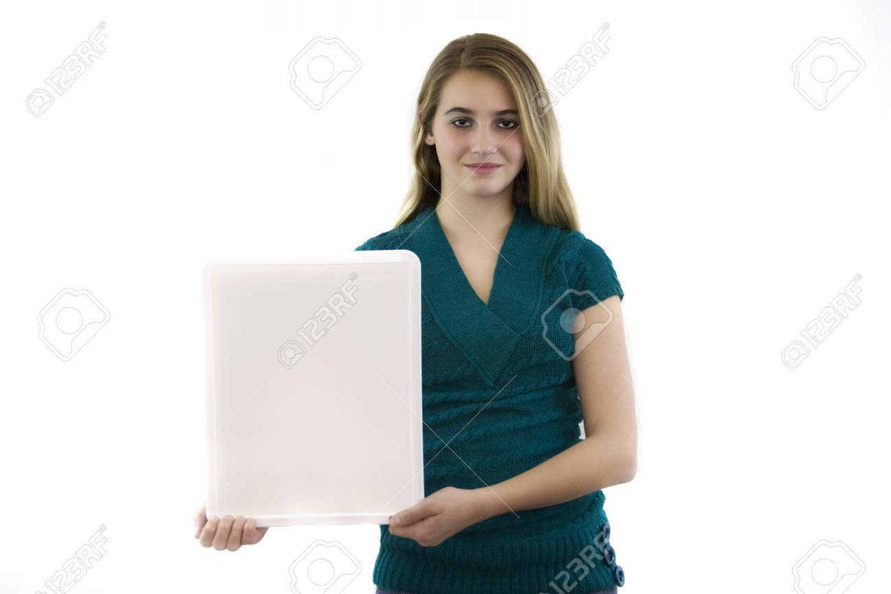 Young female with blank white board isolated. Stock Photo - 17398759