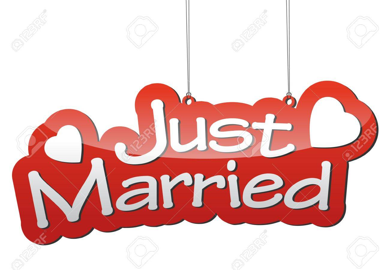This is red vector background just married - 49934904