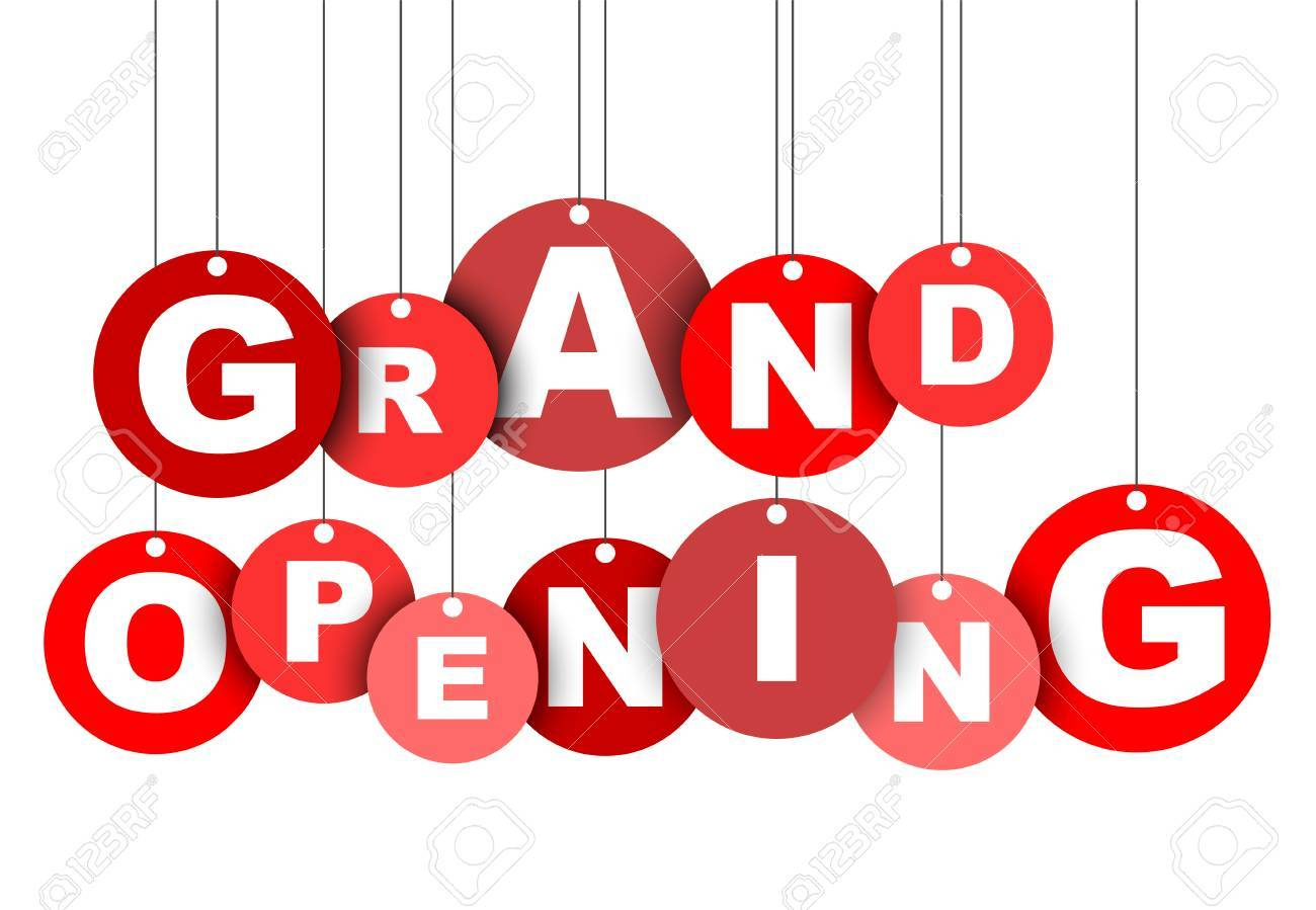 red easy illustration isolated circle tag banner grand opening