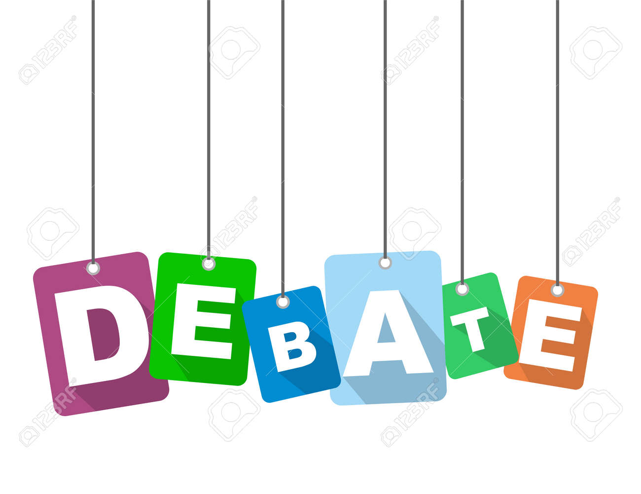 Colorful Vector Flat Design Background Debate Royalty Free Cliparts  -> Imagem De Debate