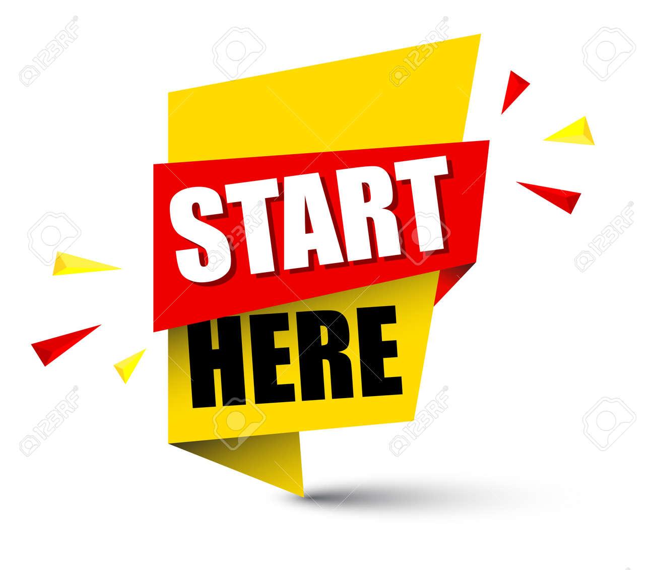Banner start here illustration design. - 93081344