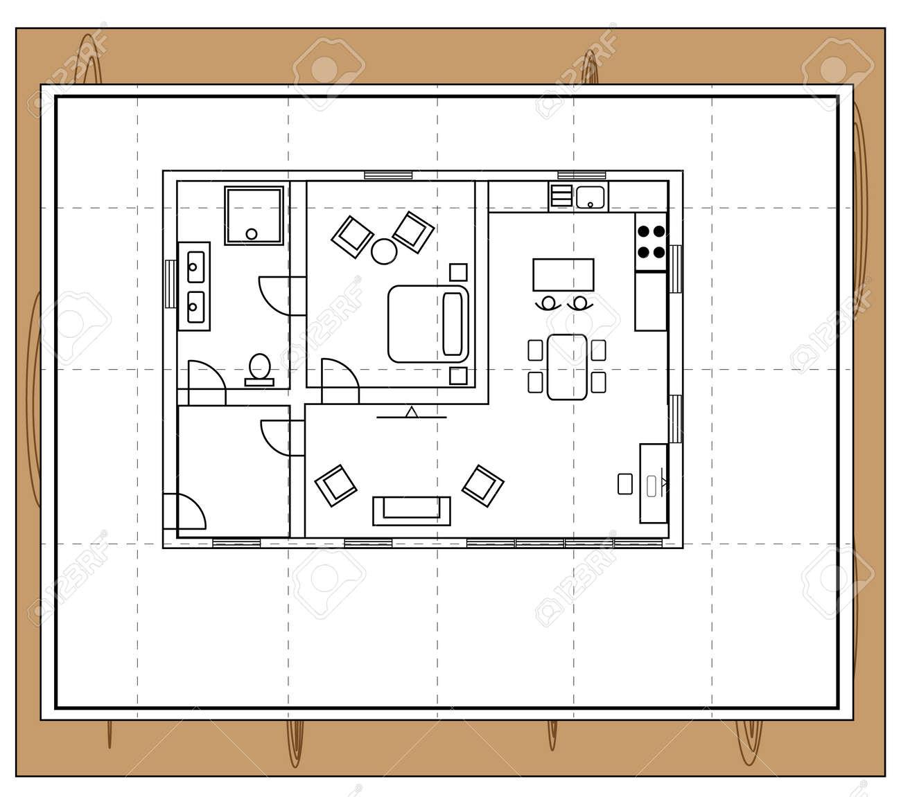 Vettoriale Disegno Di Una Casa Con Siccita Camere Singole Con