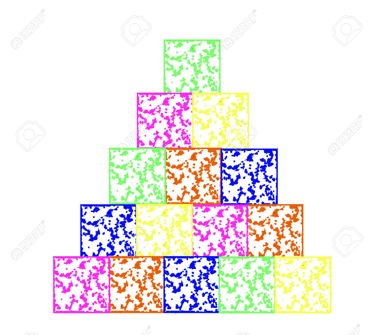 The pyramid was built from children colored cubes - 76301889