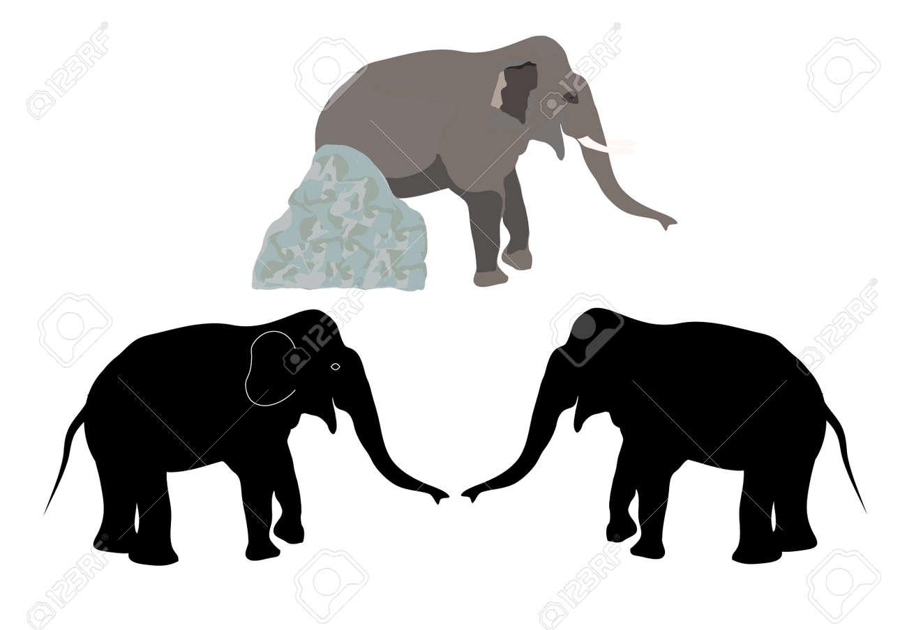 2 つのシルエット象と石とゾウのリアルな描画