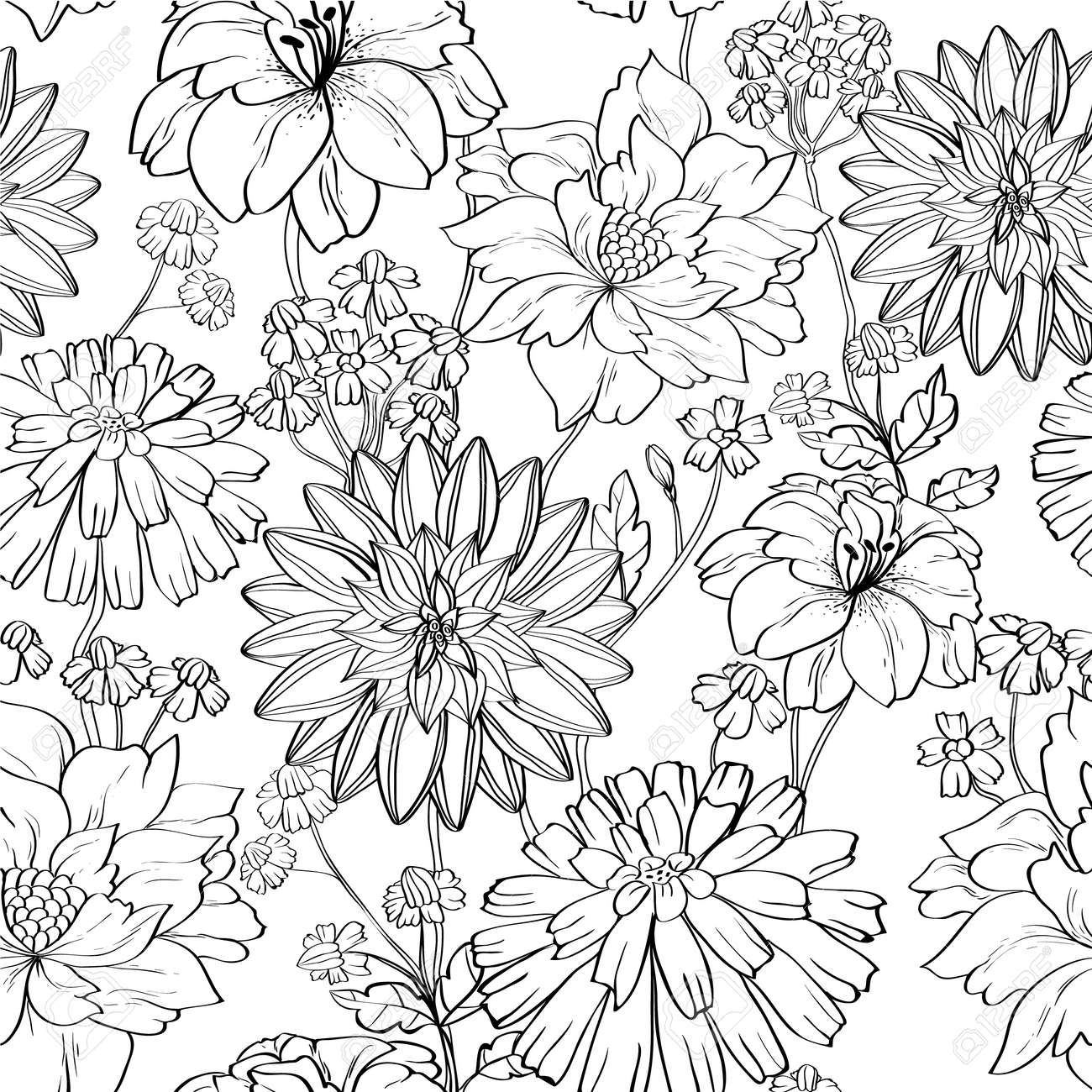 hand drawn floral wallpaper with set of different flowers. could be used as seamless wallpaper, textile, wrapping paper or background Stock Vector - 10671657