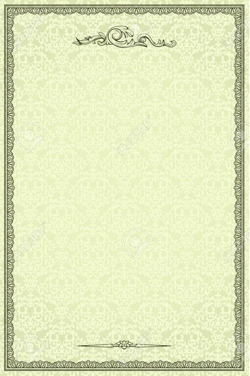 Marco Vintage En Damasco Fondo Transparente. Podría Utilizarse Para ...