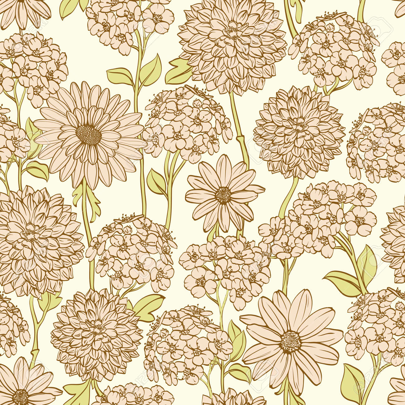 Hand drawn floral wallpaper with pink flowers. Could be used as seamless wallpaper, textile, wrapping paper or background Stock Vector - 11073731