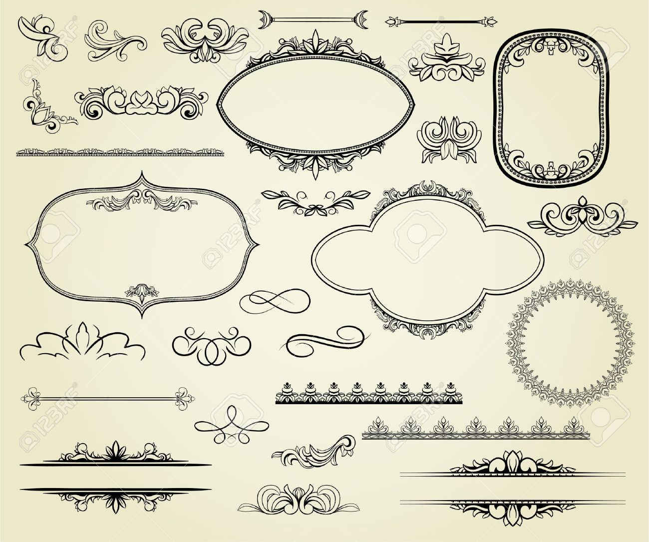 Lots of design elements: labels, borders, frames, etc. Could be used for page decoration, certificate, etc Stock Vector - 11156706