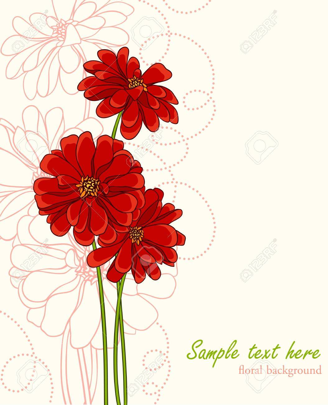 Stylish Background With Hand Drawn Flowers And Place For Text ...
