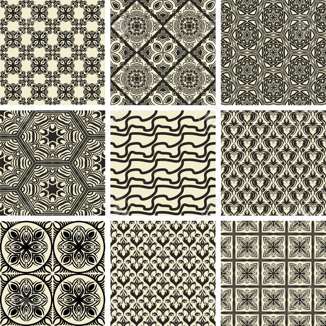 Set of nine repeating patterns in retro style Stock Vector - 11258614