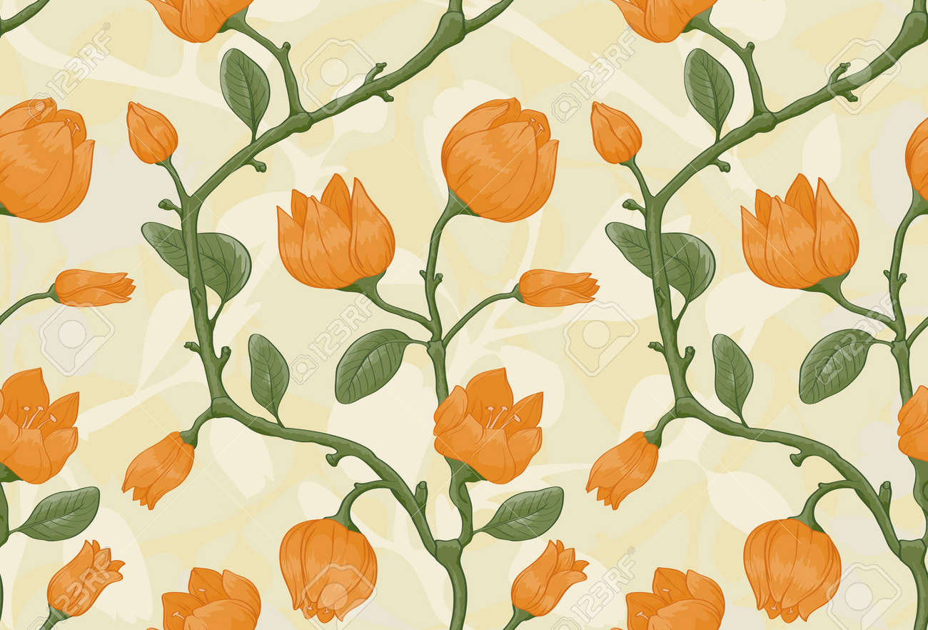 Floral seamless pattern on beige background with yellow flowers Stock Vector - 11500342