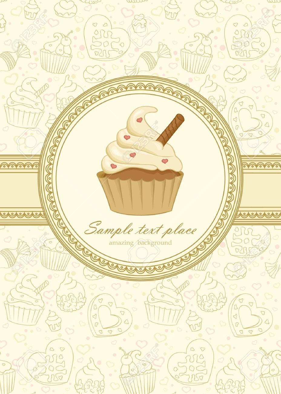 Elegant Frame On Seamless Wallpaper With Cupcake Stock Vector