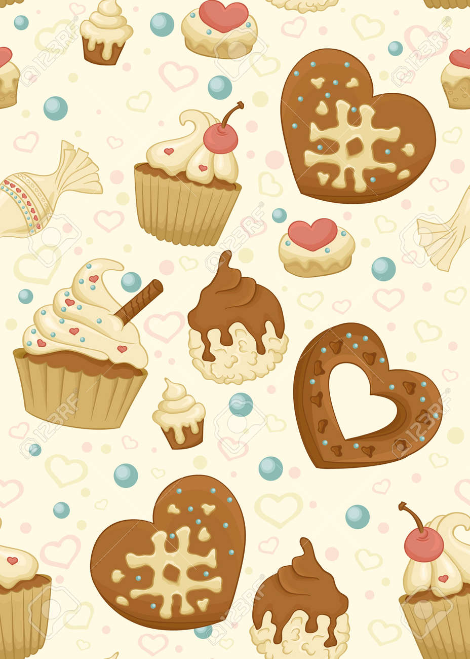 Seamless pattern with cupcakes,candiesn and other sweet and tasty food Stock Vector - 11658000