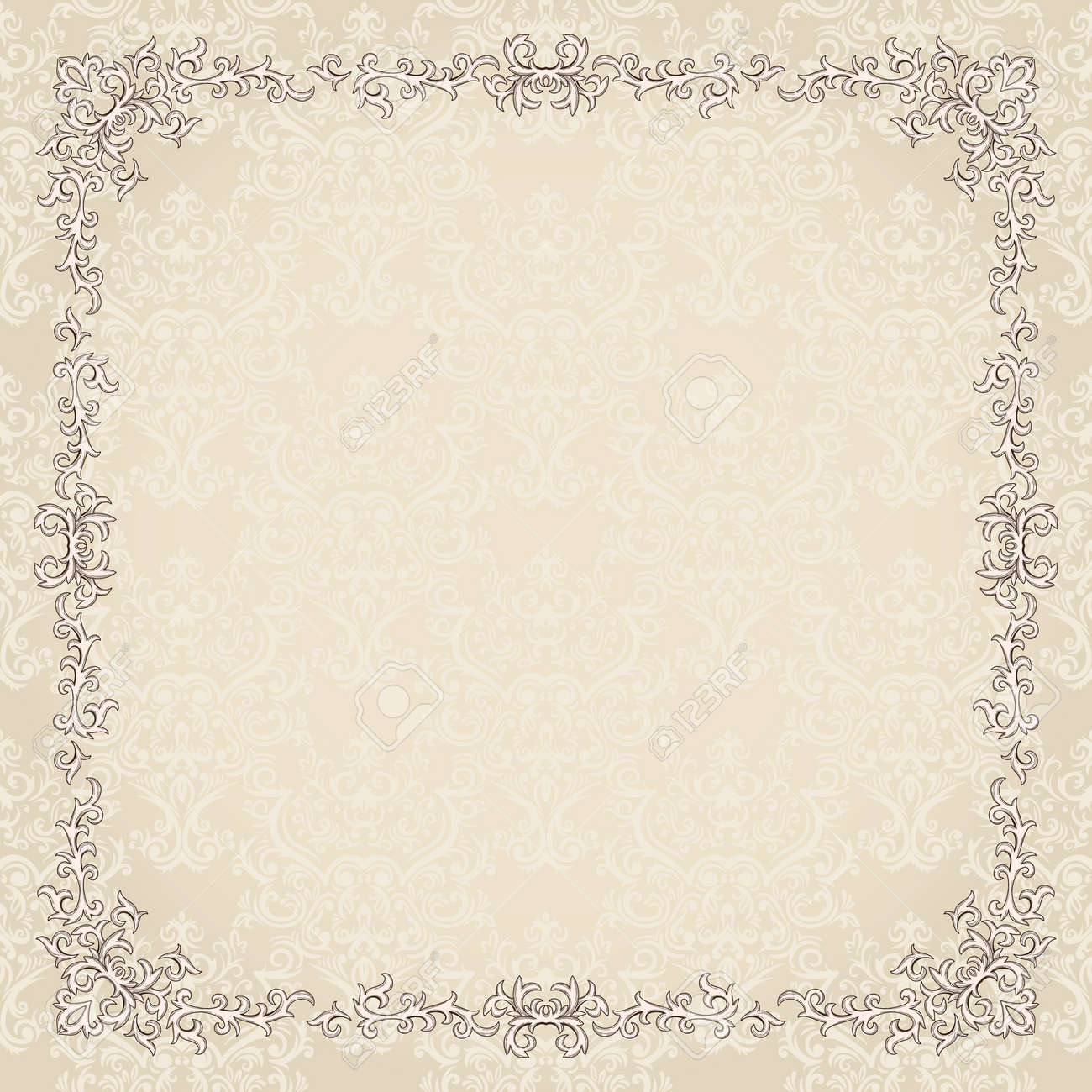 Vintage background with damask pattern in retro style Stock Vector - 11964896
