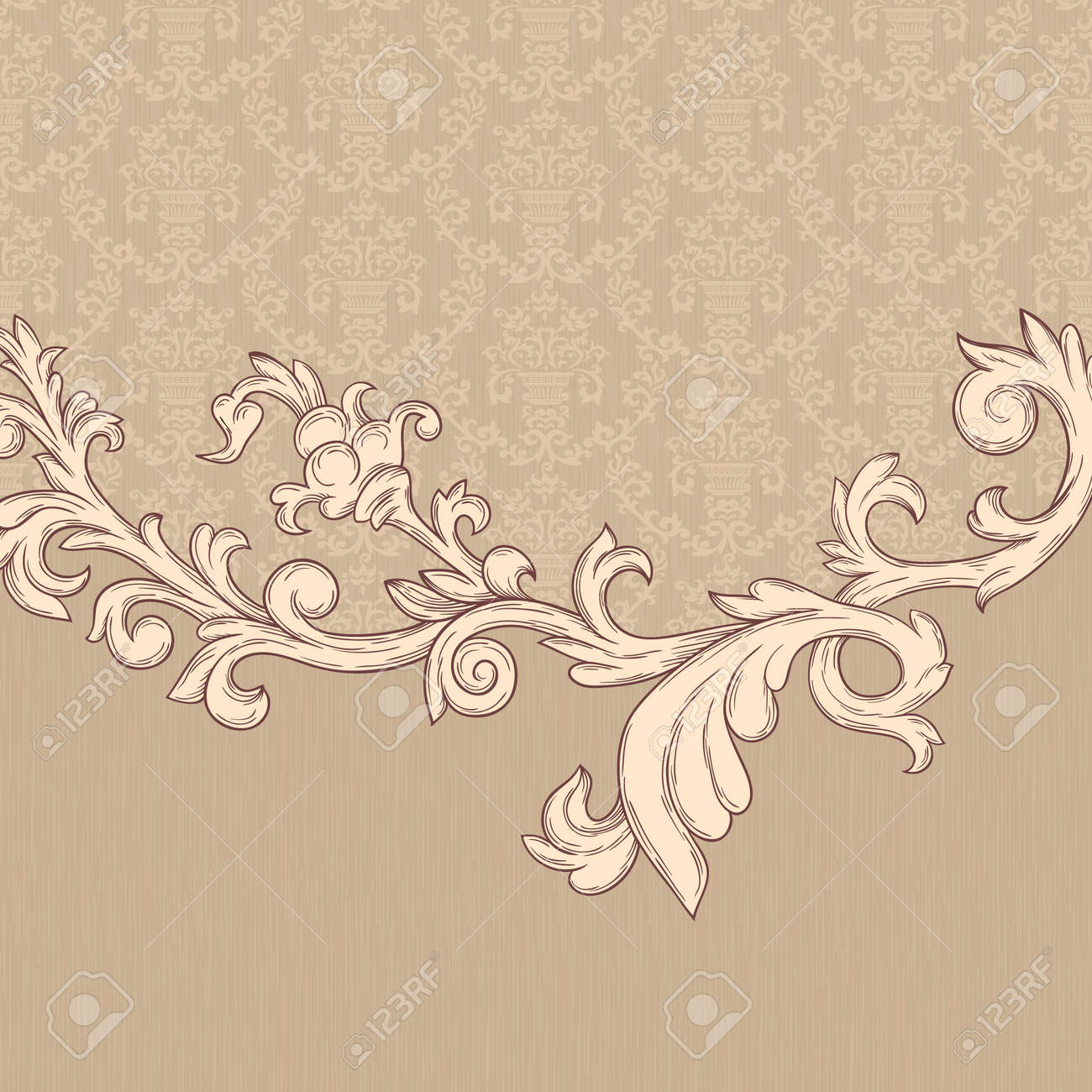 Vintage background with damask pattern in retro style Stock Vector - 11964886