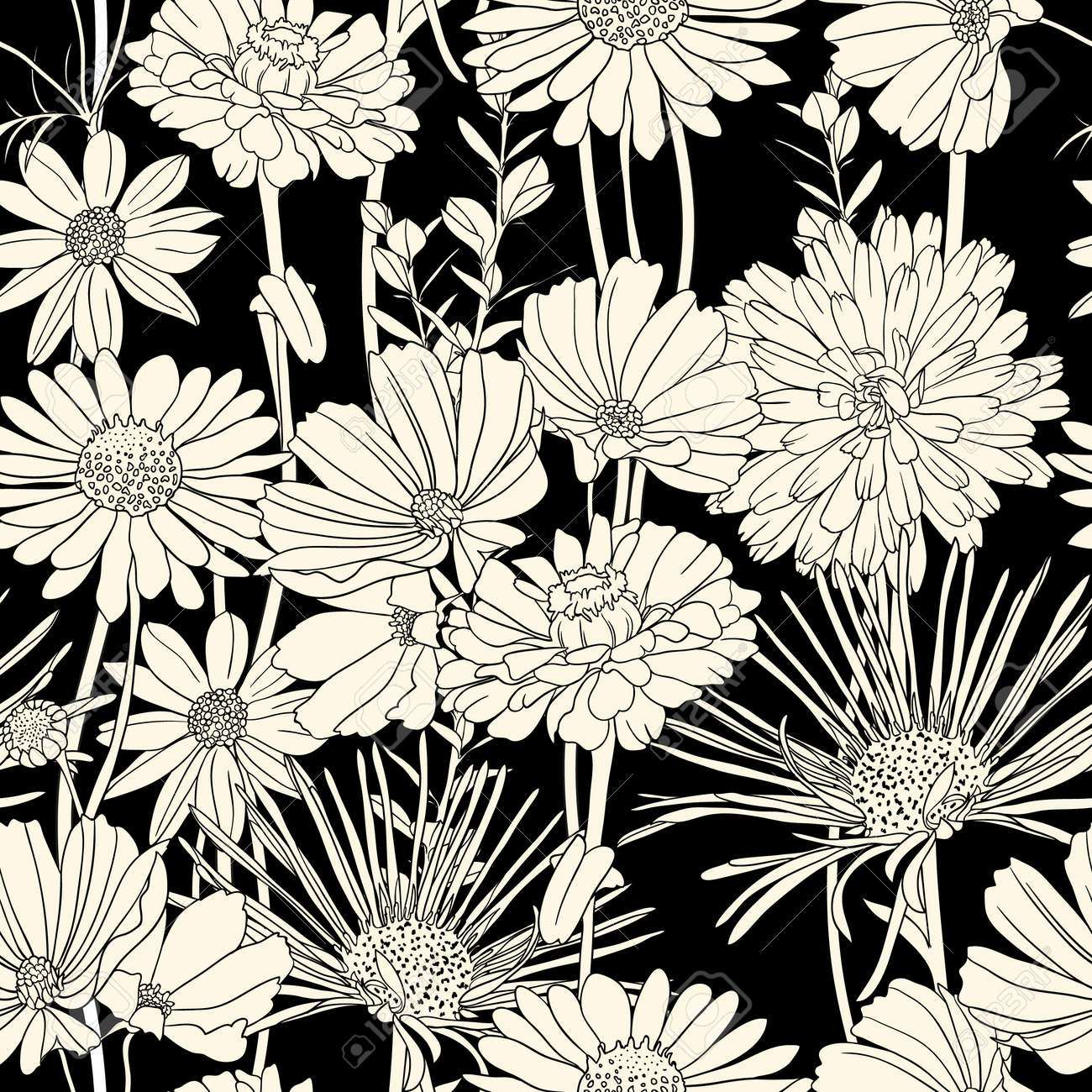 Floral Seamless Pattern With Hand Drawn Flowers Black And White