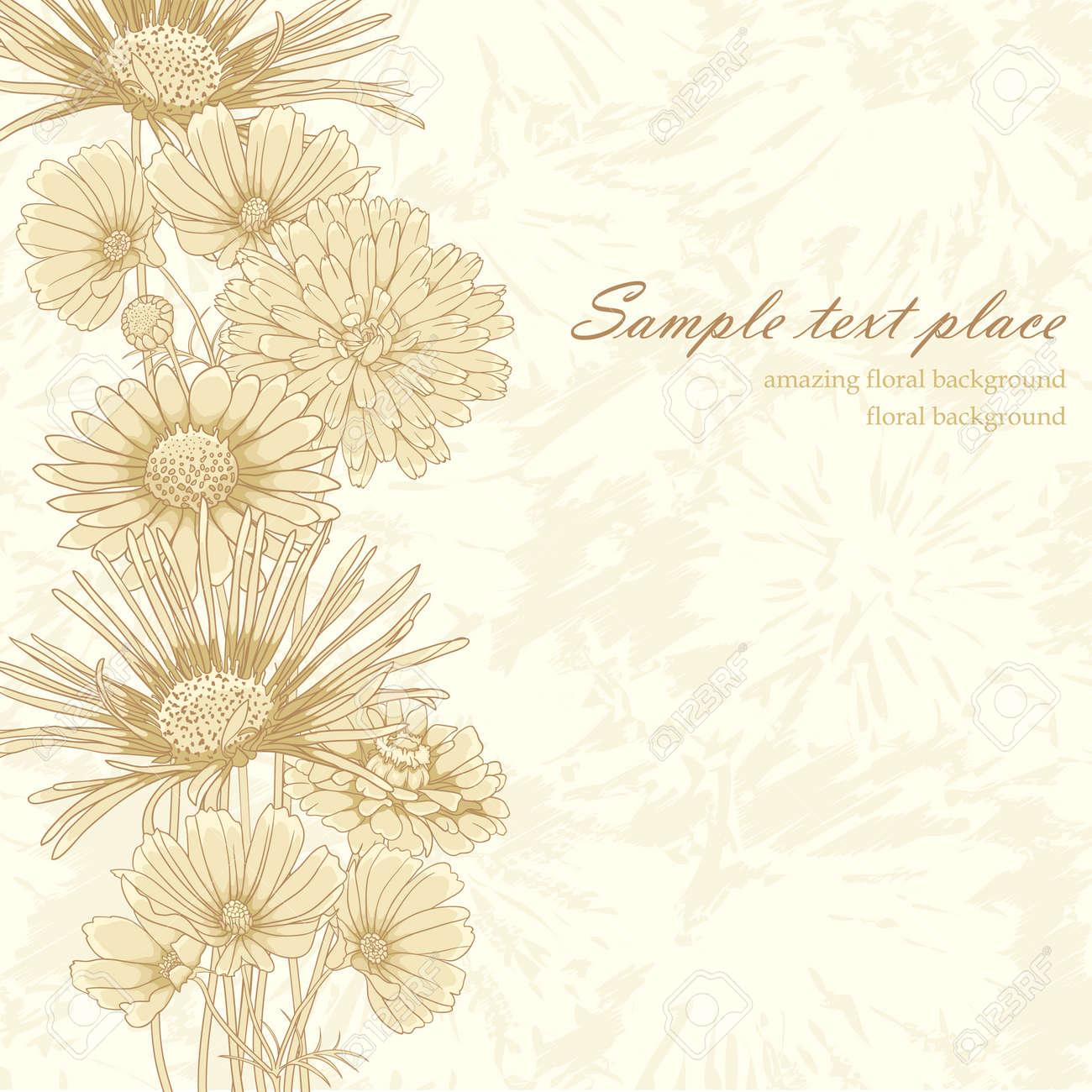 Elegant vintage floral background with set of different flowers Stock Vector - 11964887