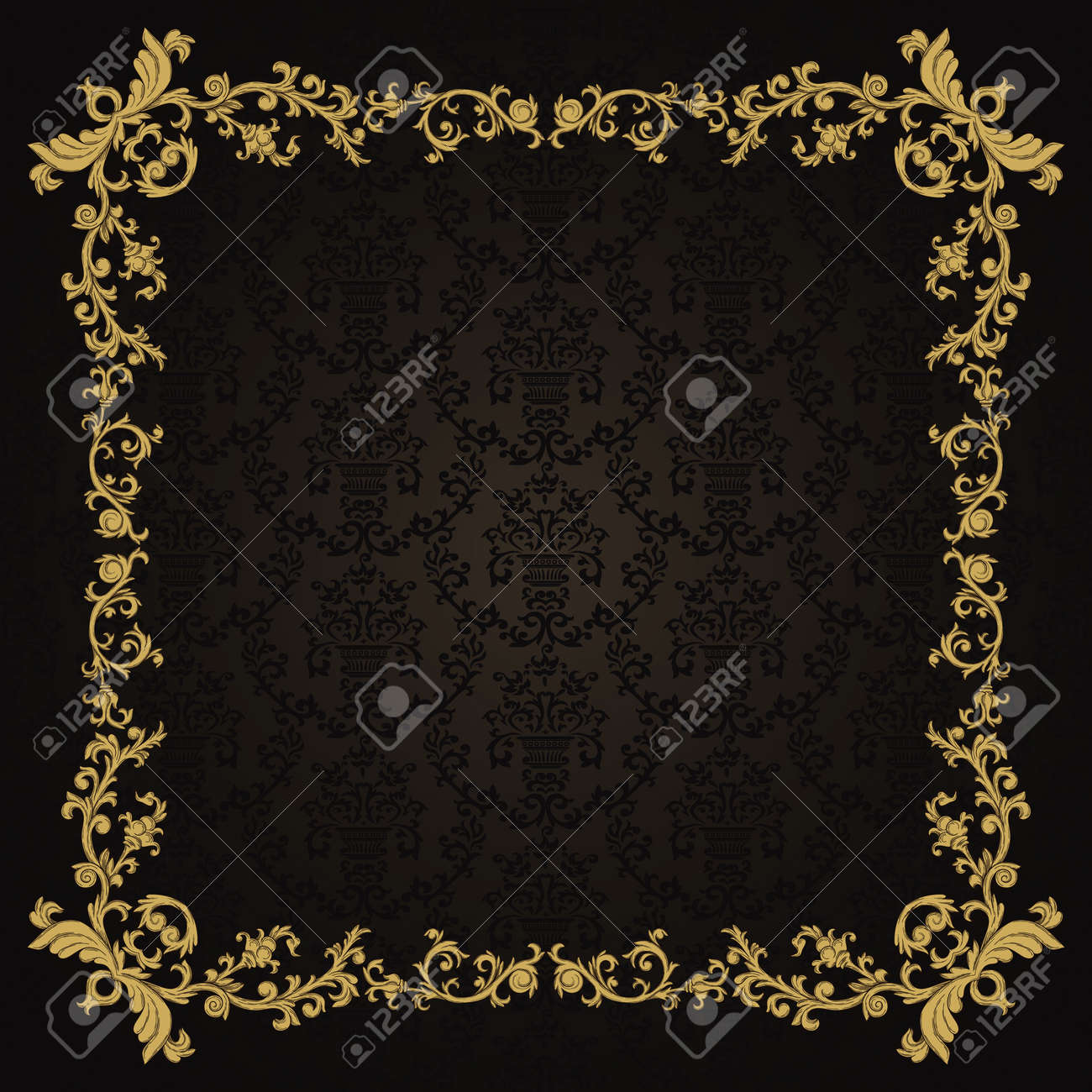 Vintage background with damask pattern in retro style Stock Vector - 12217779