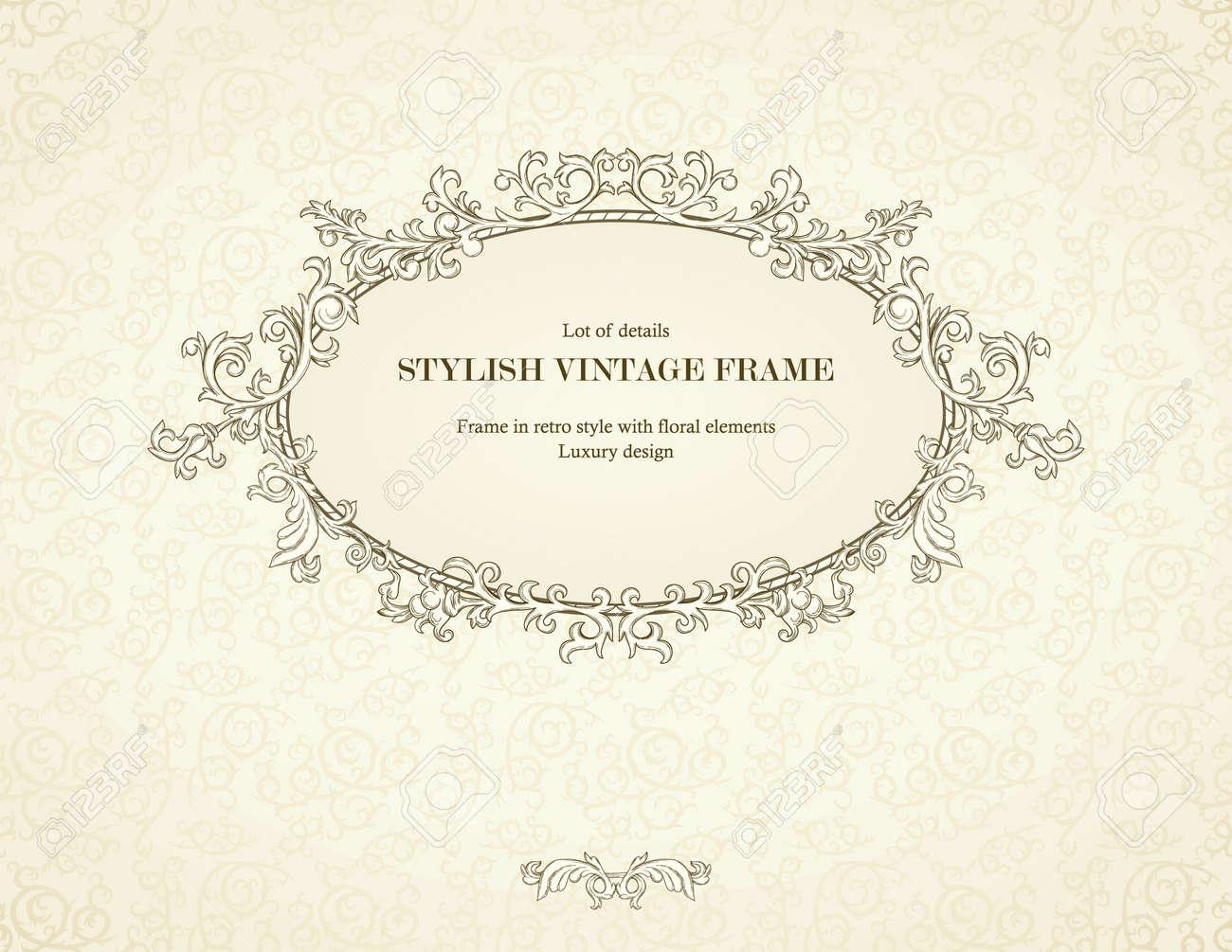 Vintage frame on seamless damask background. Stock Vector - 12484507