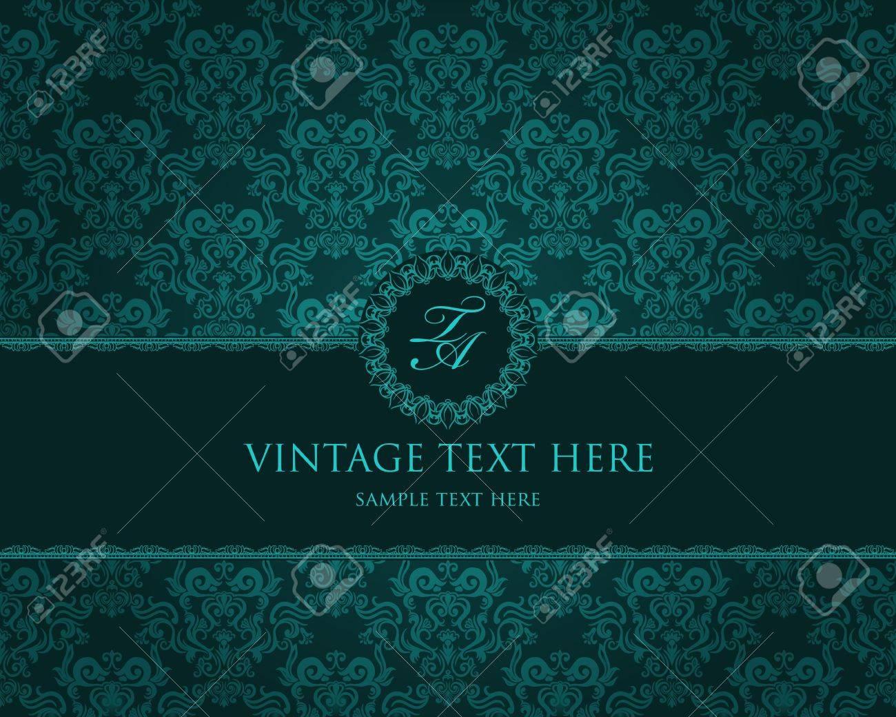 Detailed vintage card with damask wallpaper on beige grunge background Stock Vector - 12806803