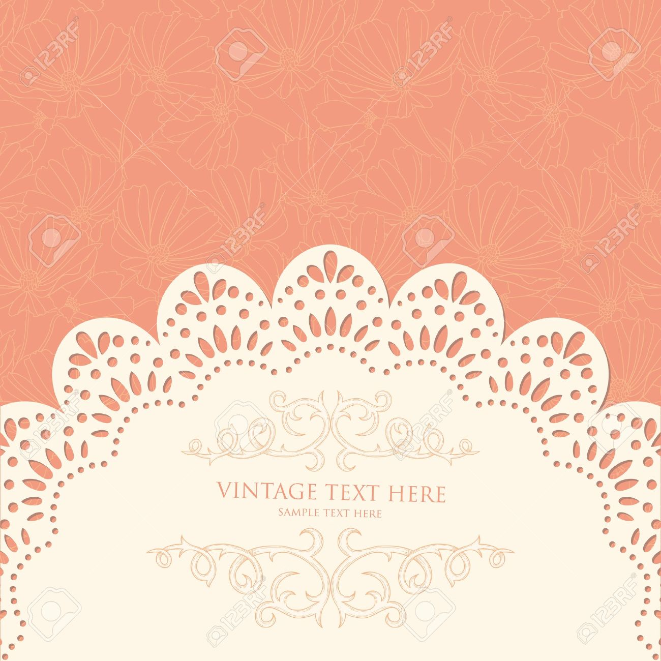Retro background with floral pattern and lace Stock Vector - 12806820