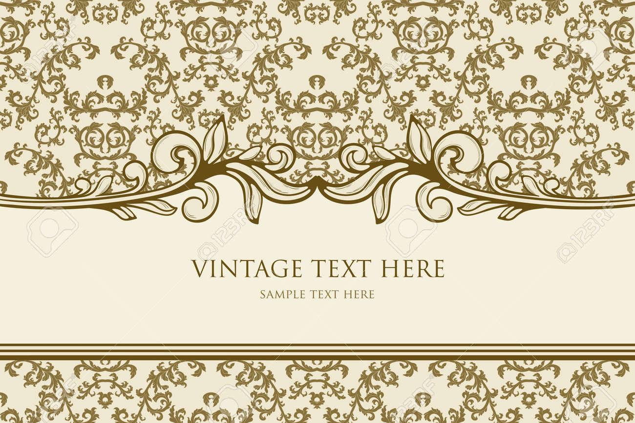 Vintage frame with damask background Stock Vector - 13106799