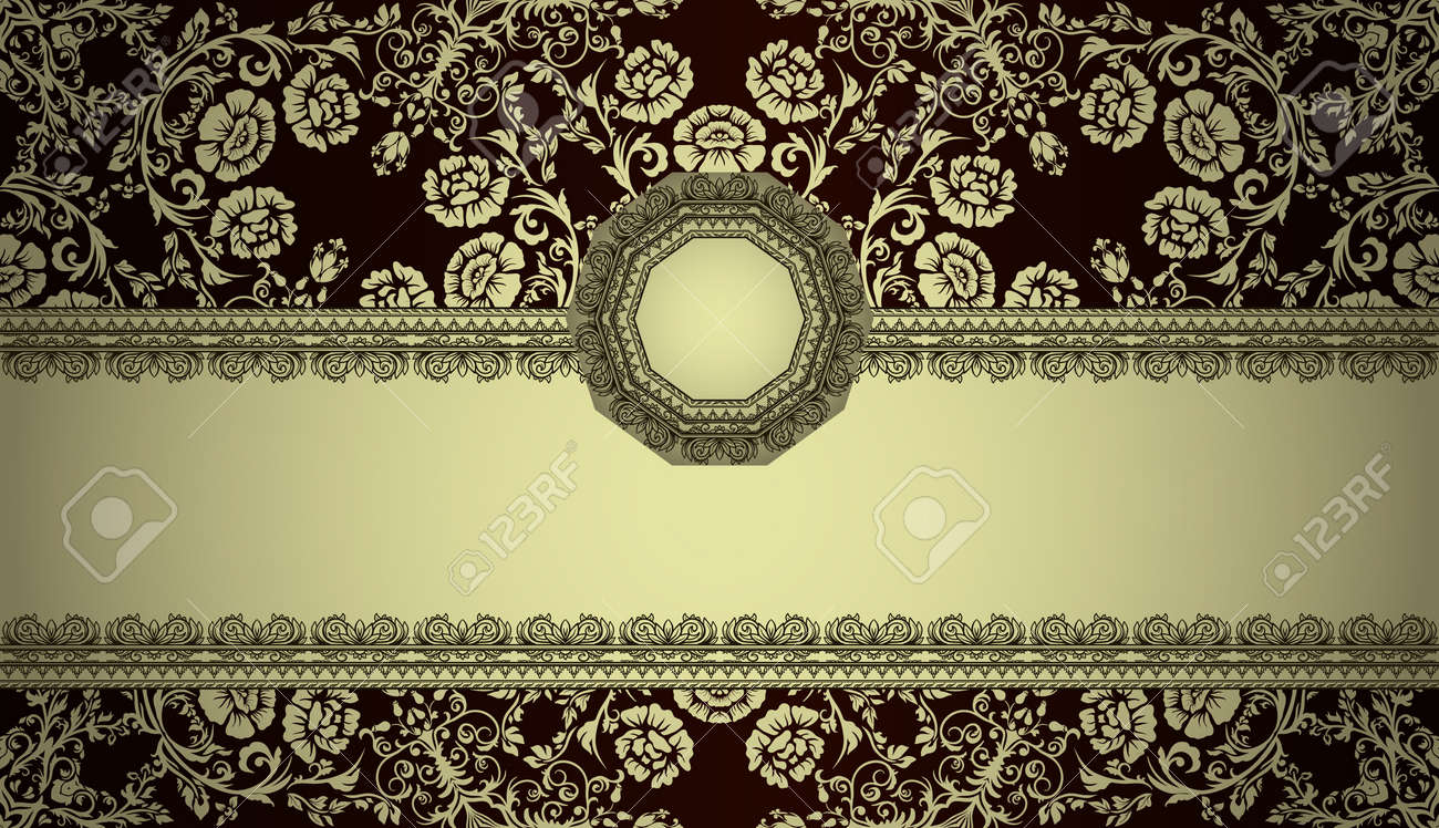vintage frame on damask background Stock Vector - 13251762