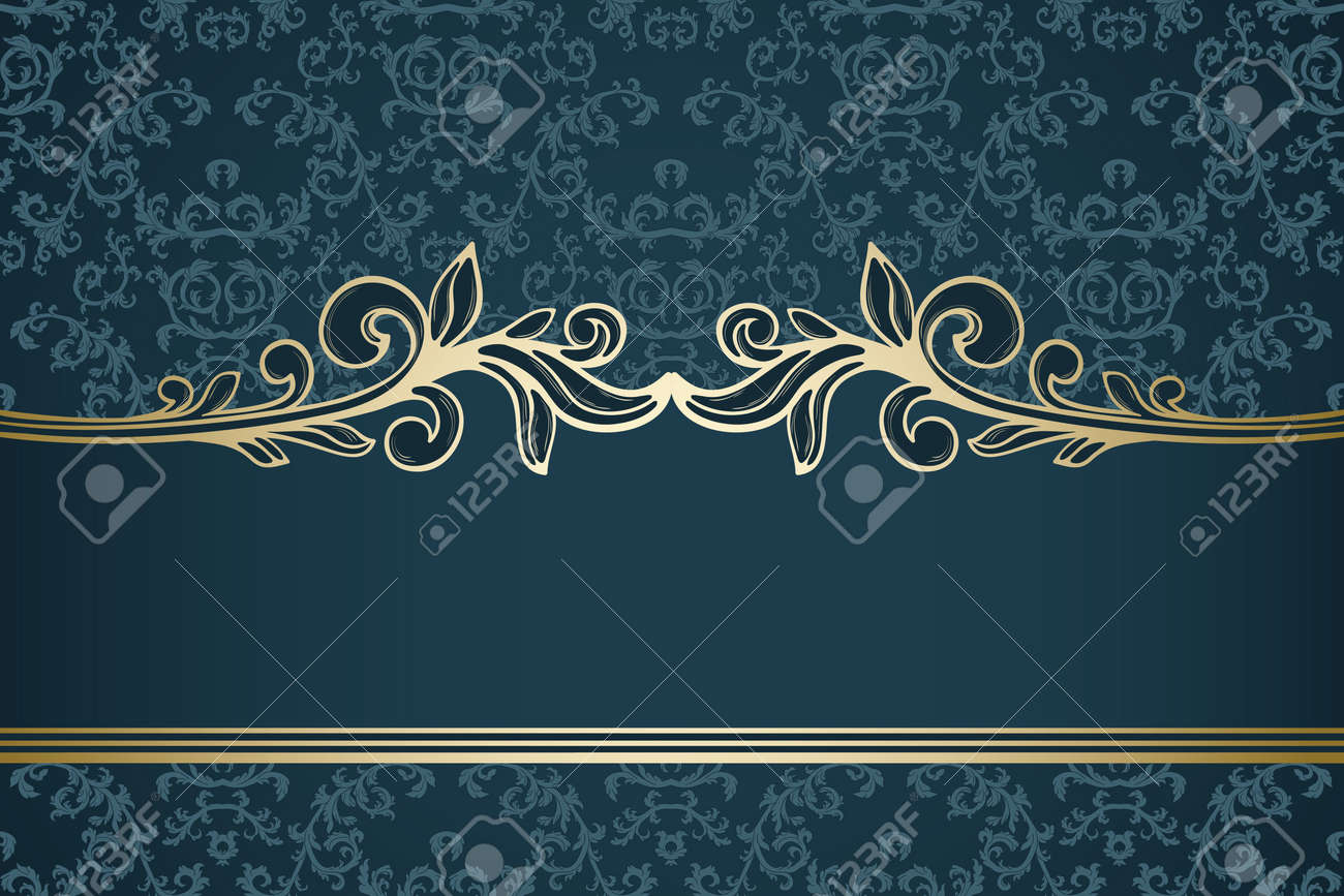 Golden vintage frame on blue damask pattern Stock Vector - 13563921