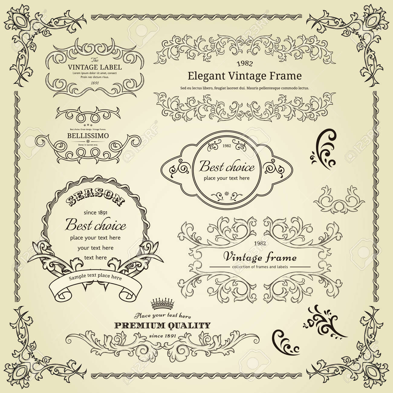 Set of design elements  labels, borders, frames, etc  Could be used for page decoration, certificate, etc Stock Vector - 14189380