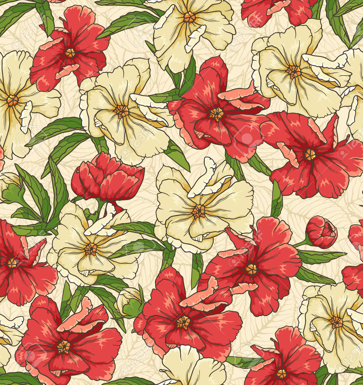 floral seamless pattern with hand drawn flowers Stock Vector - 14661887