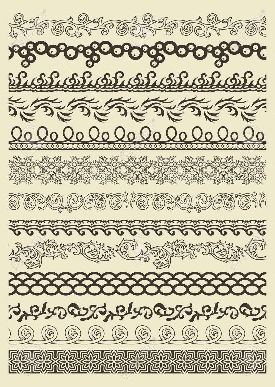 Set of vintage lines on beige background Stock Vector - 15047266