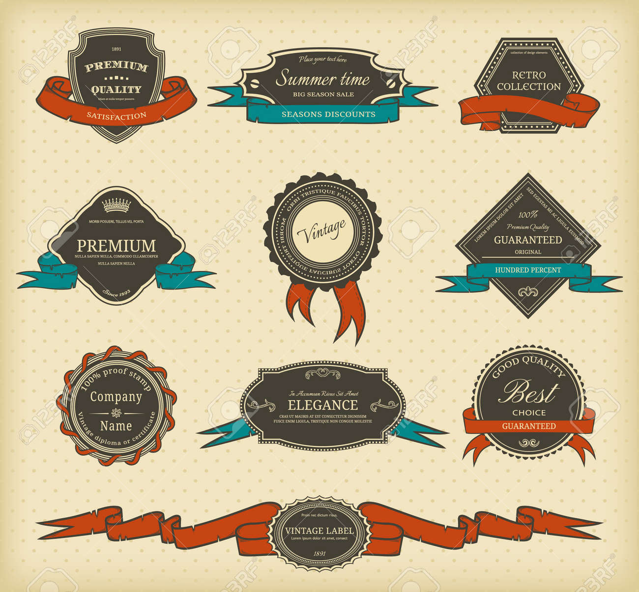 Set of vintage labels with ribbons Stock Vector - 15252379