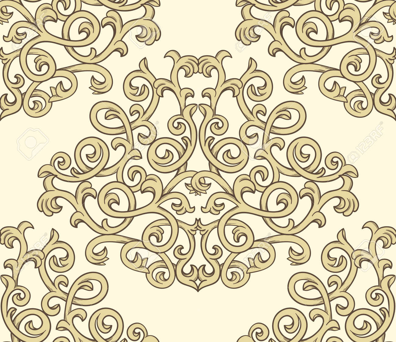 Damask seaml;ess pattern Stock Vector - 15355183